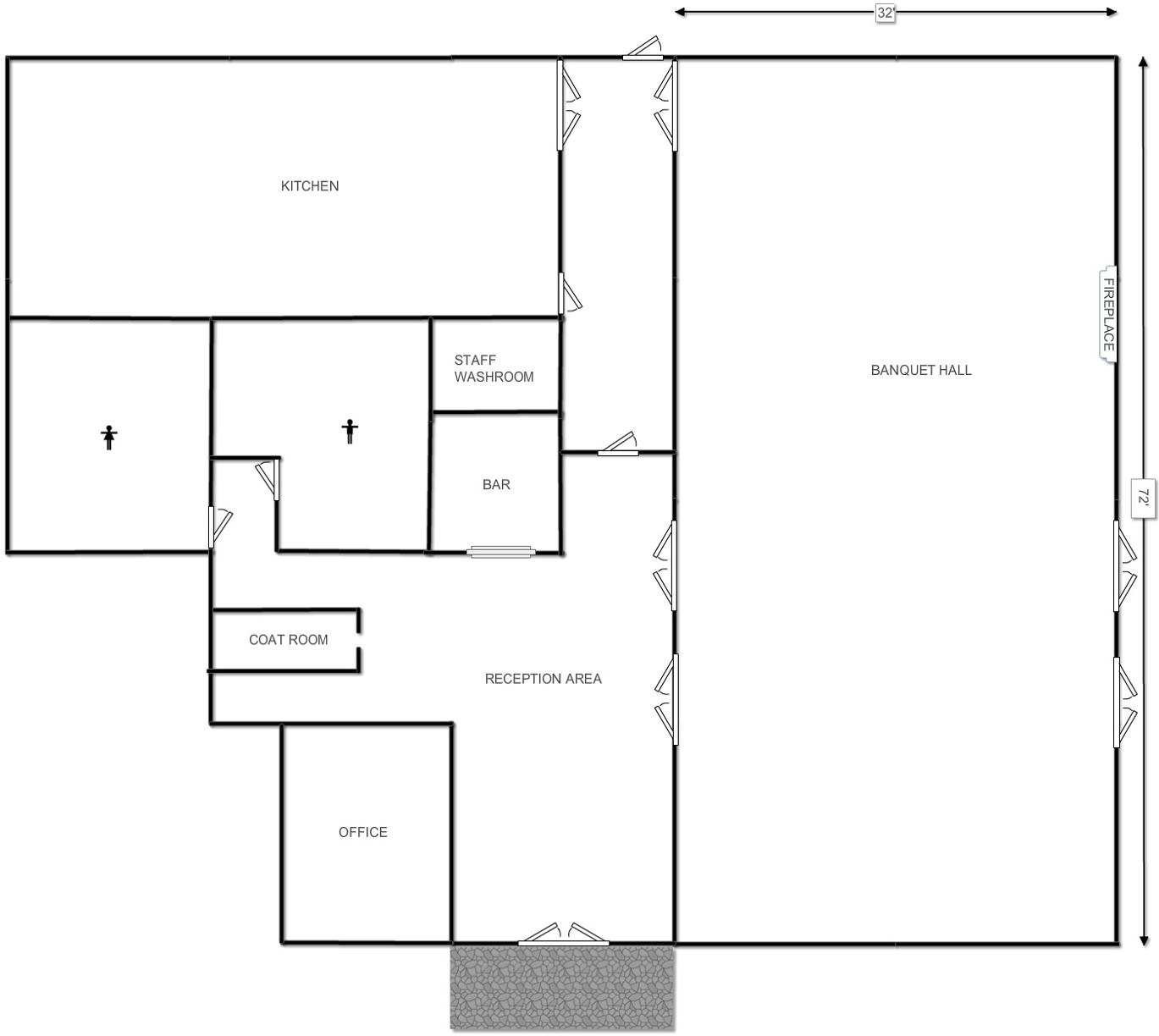 Banquet hall floor plan gurus floor for Banquet hall floor plan